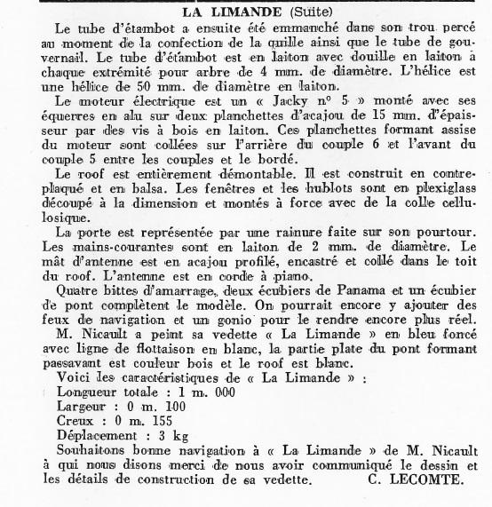 La Limande vedette de 16m au 1/16eme plan de MRB N°92 de 1960 Articl18