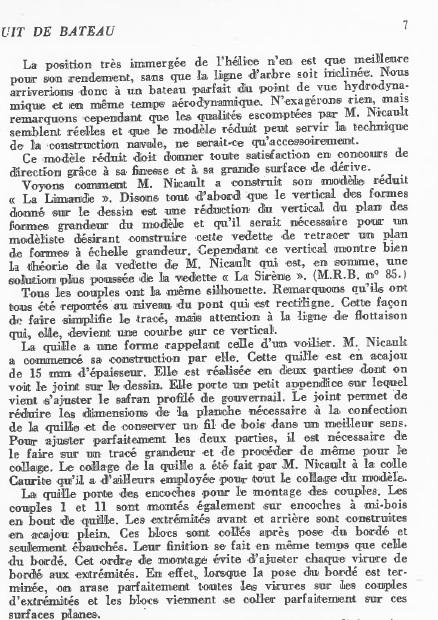 La Limande vedette de 16m au 1/16eme plan de MRB N°92 de 1960 Articl19