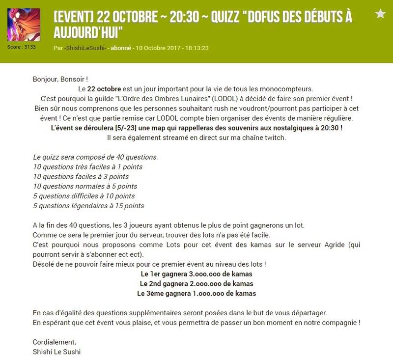 """#1 Quizz """"Dofus des débuts à aujourd'hui"""" Prysen10"""