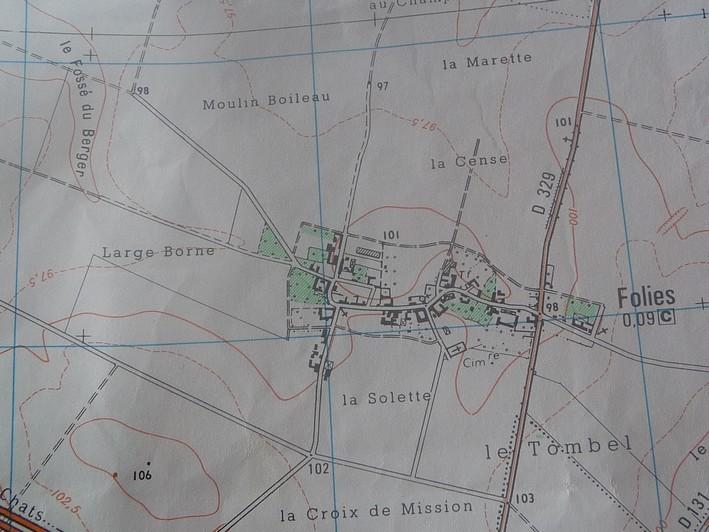 CARTE ACHEOLOGIQUE de FOLIES (7 km de LE QUESNEL) Folies12
