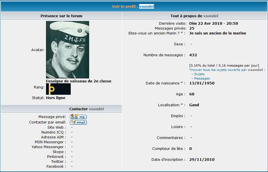 """Décès du membre """"vaandel"""" (Georges Willocx) Mmku4524"""