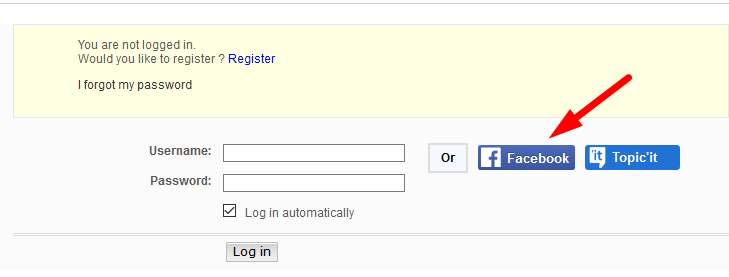 Facebook login option Screen28