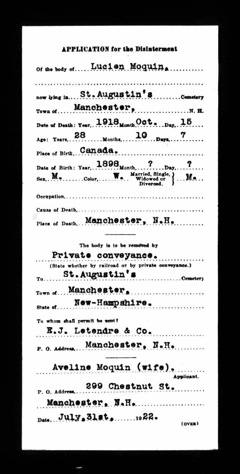 Ré: Famille d'Elzéar Moquin & Eugénie (née Bourdon) Deces_23