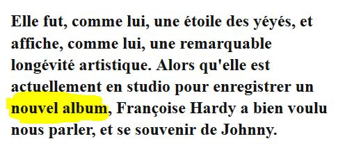 """""""Personne d'autre"""" : le prochain album de Françoise Hardy Captur17"""