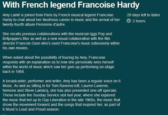 20 mai 2018 - With French legend Francoise Hardy (BBC Radio 6) Captur73