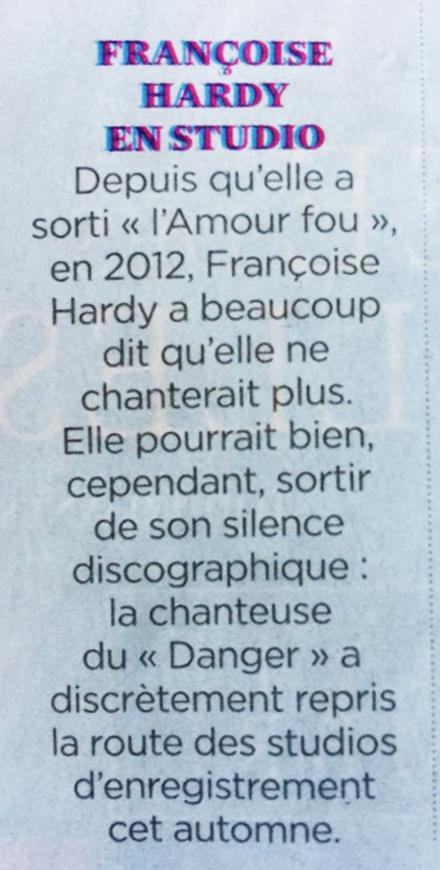 """""""Personne d'autre"""" : le prochain album de Françoise Hardy Depuis10"""