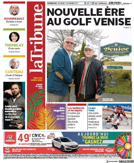 28 avril 2018 - La Tribune (édition week-end - Canada) Getima10