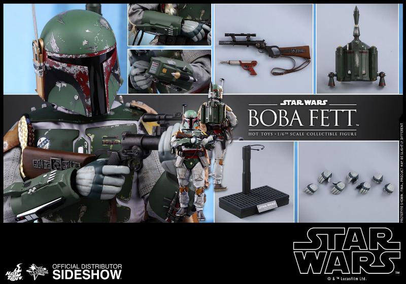 Hot Toys Boba Fett & Boba Fett Deluxe Version 6th Scale Fig Boba-f19