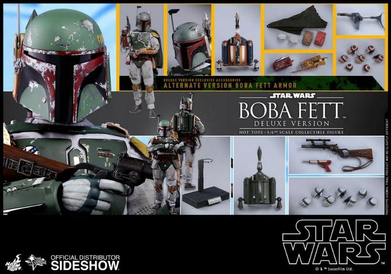 Hot Toys Boba Fett & Boba Fett Deluxe Version 6th Scale Fig Boba-f53