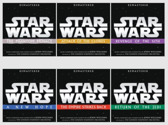 Remasterisation des 6 premières B.O. de la saga Star Wars Cds10