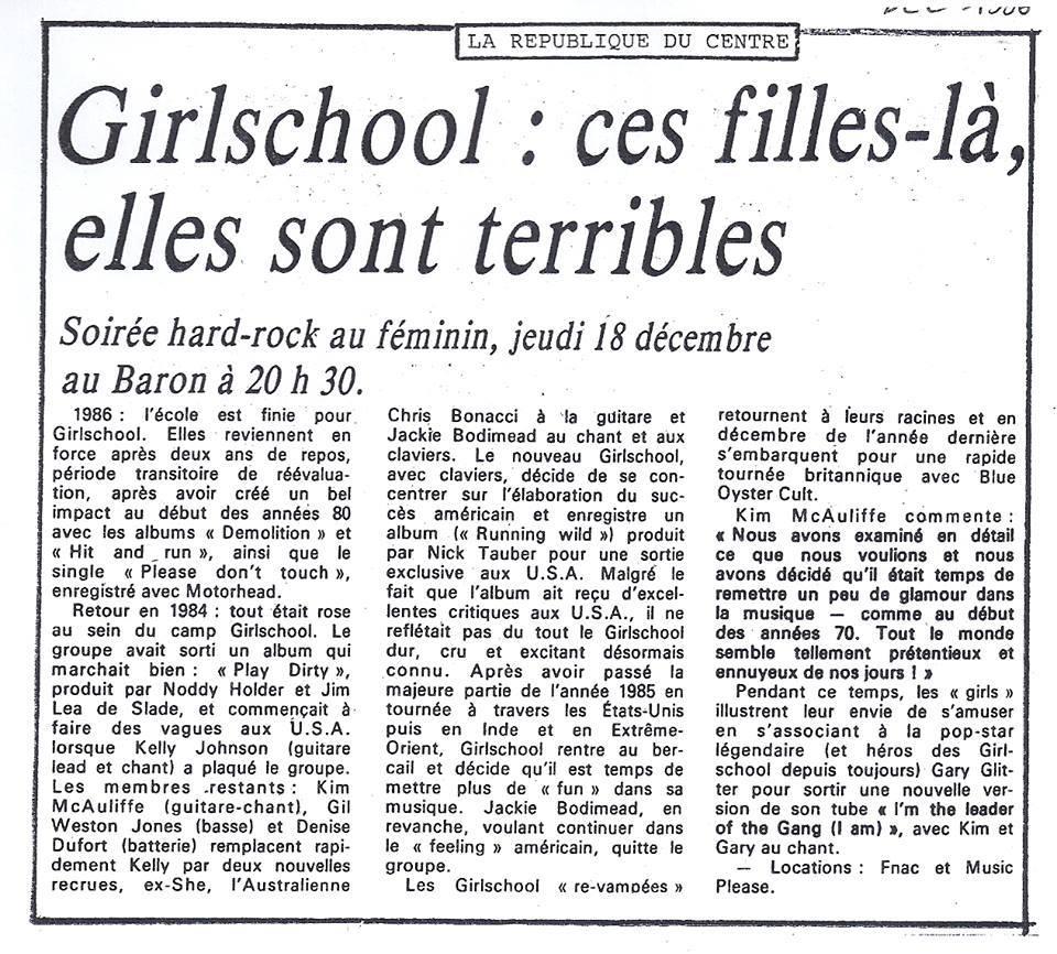 GIRLSCHOOL à Orléans le jeudi 18 décembre 1986 à La salle du Baron (Coupures de journaux)  1986_110