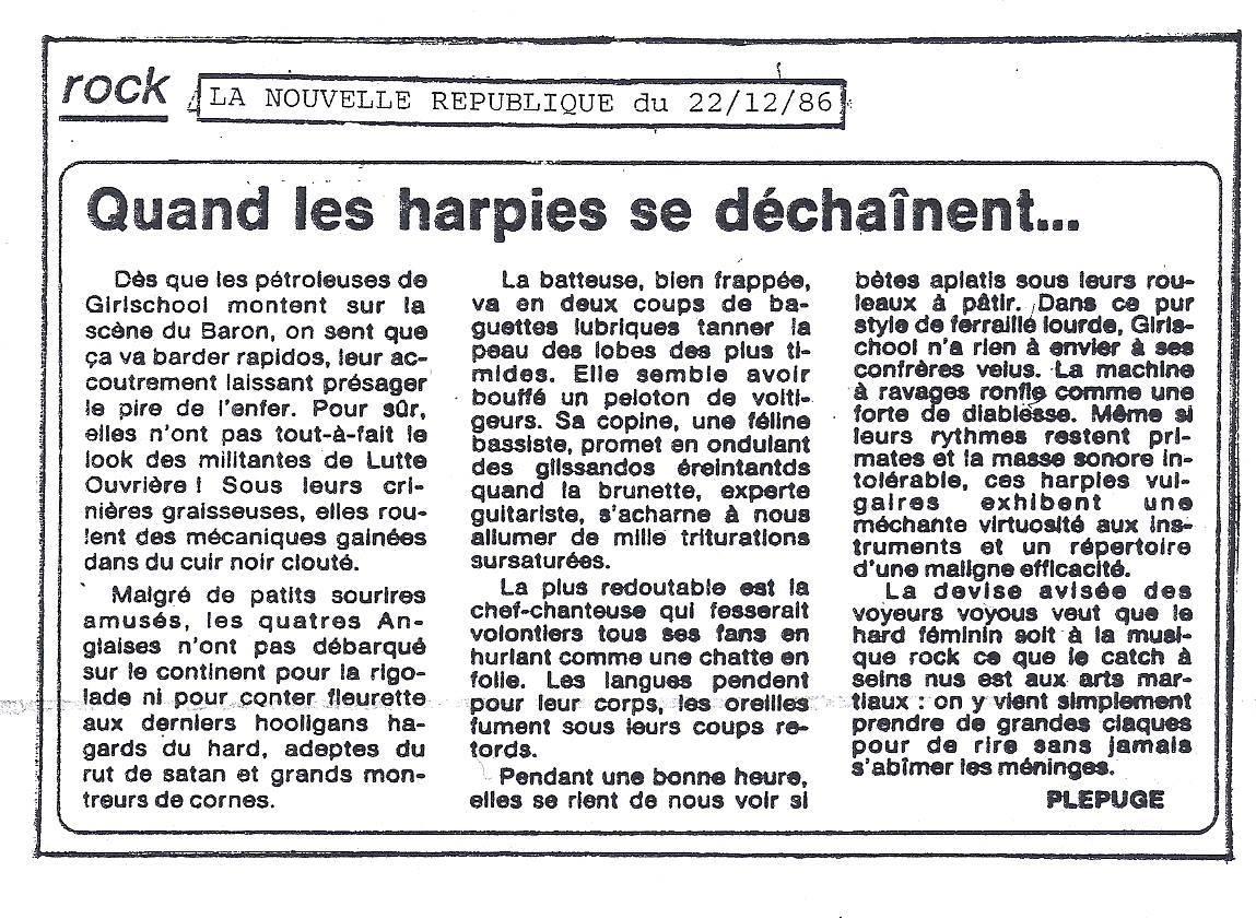 GIRLSCHOOL à Orléans le jeudi 18 décembre 1986 à La salle du Baron (Coupures de journaux)  1986_111