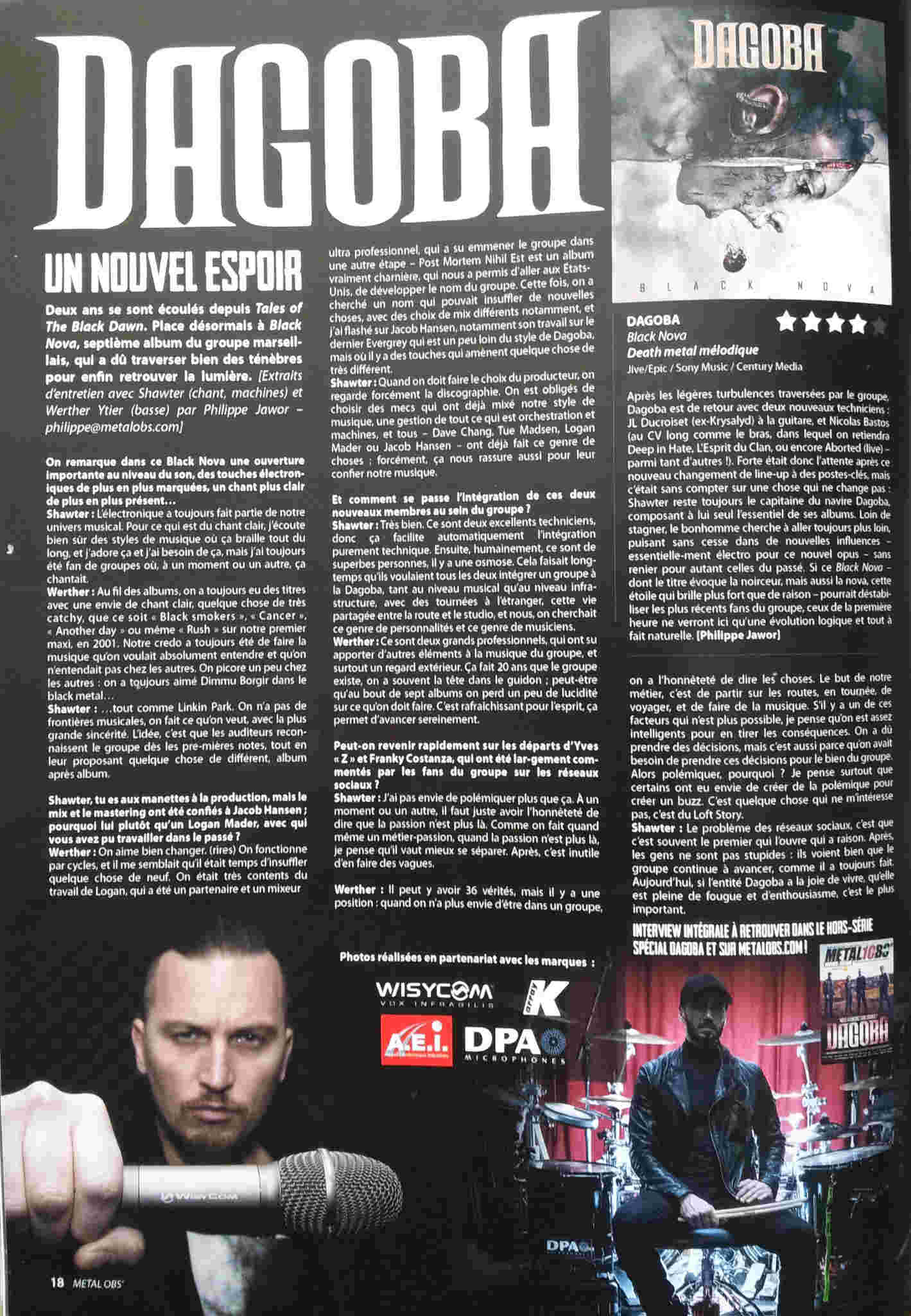 Interview DAGOBA sur Metal OBS Octobre 2017 ... 20171021