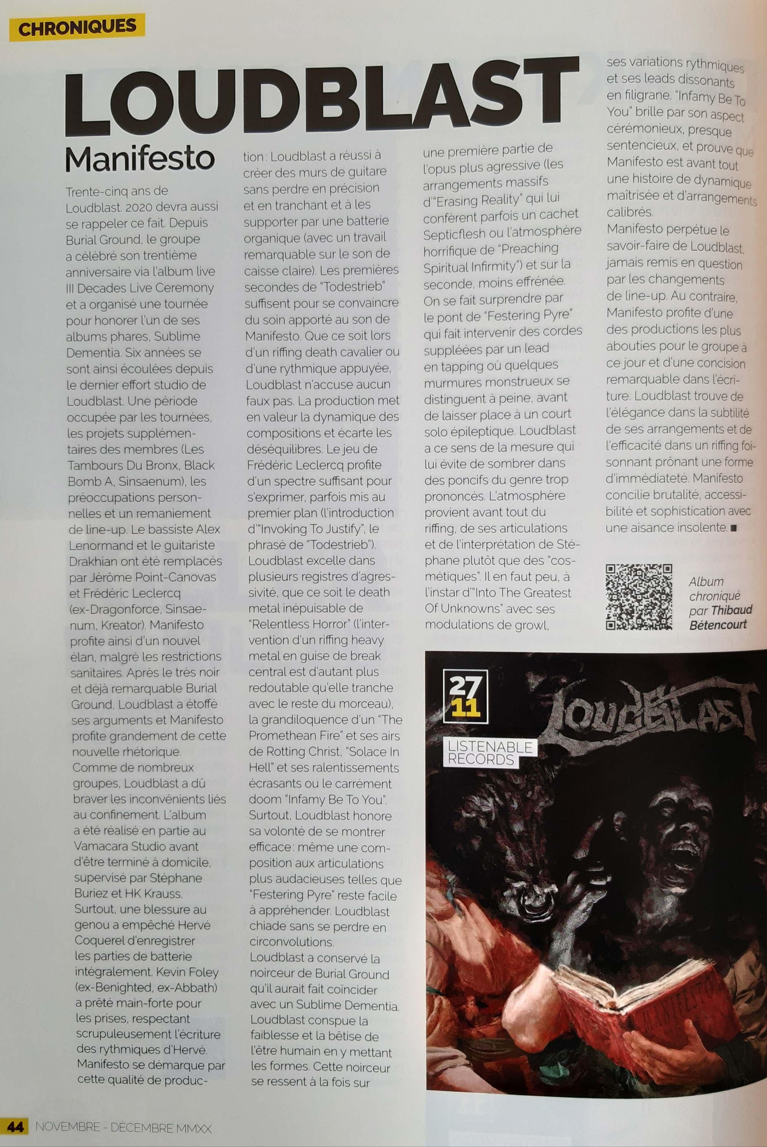 LOUDBLAST Manifesto (2020) Thrash/Death Lille 20201227