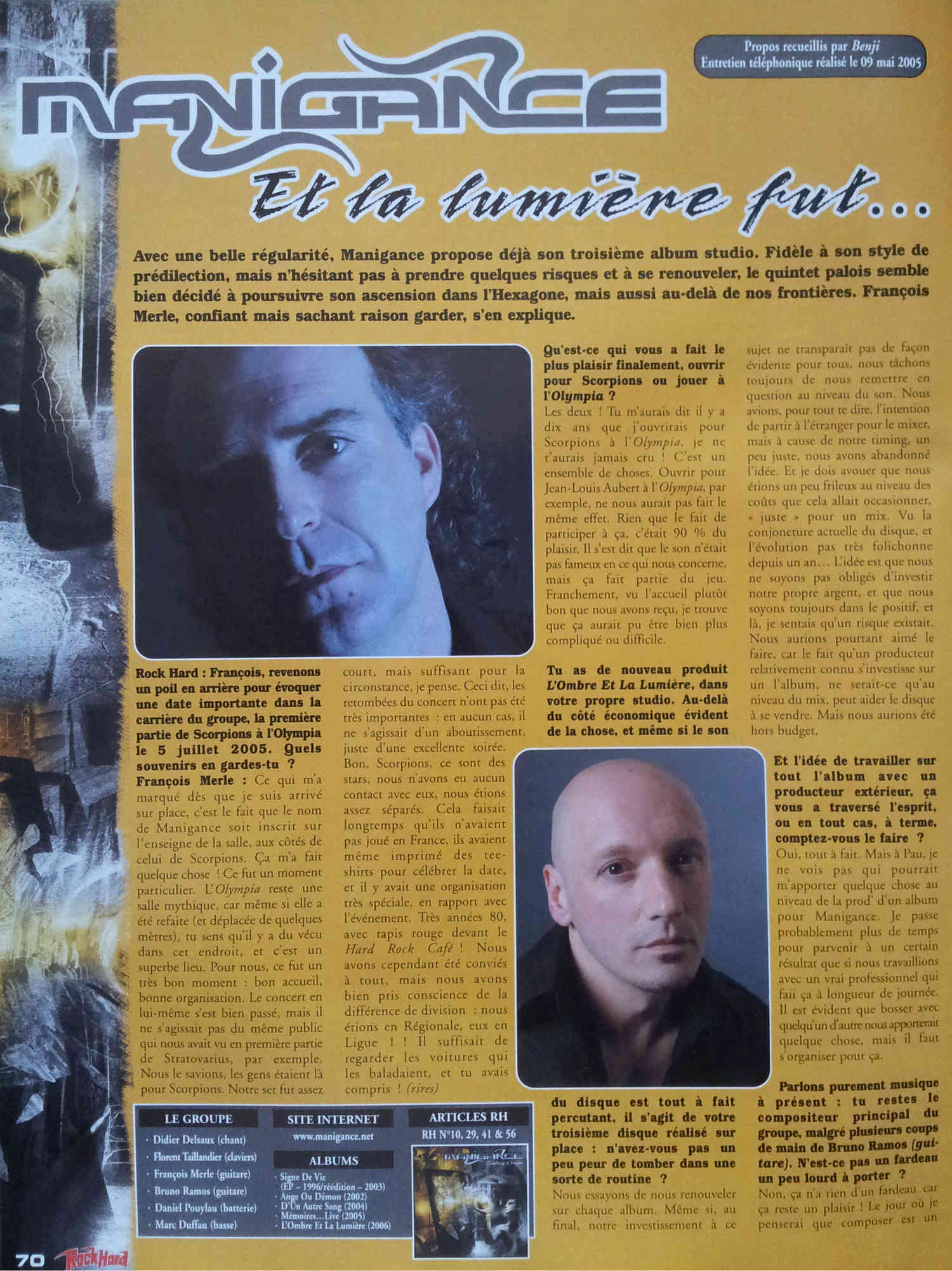 Interview MANIGANCE sur ROCK HARD n°56 JUIN 2006 (Archive) 239