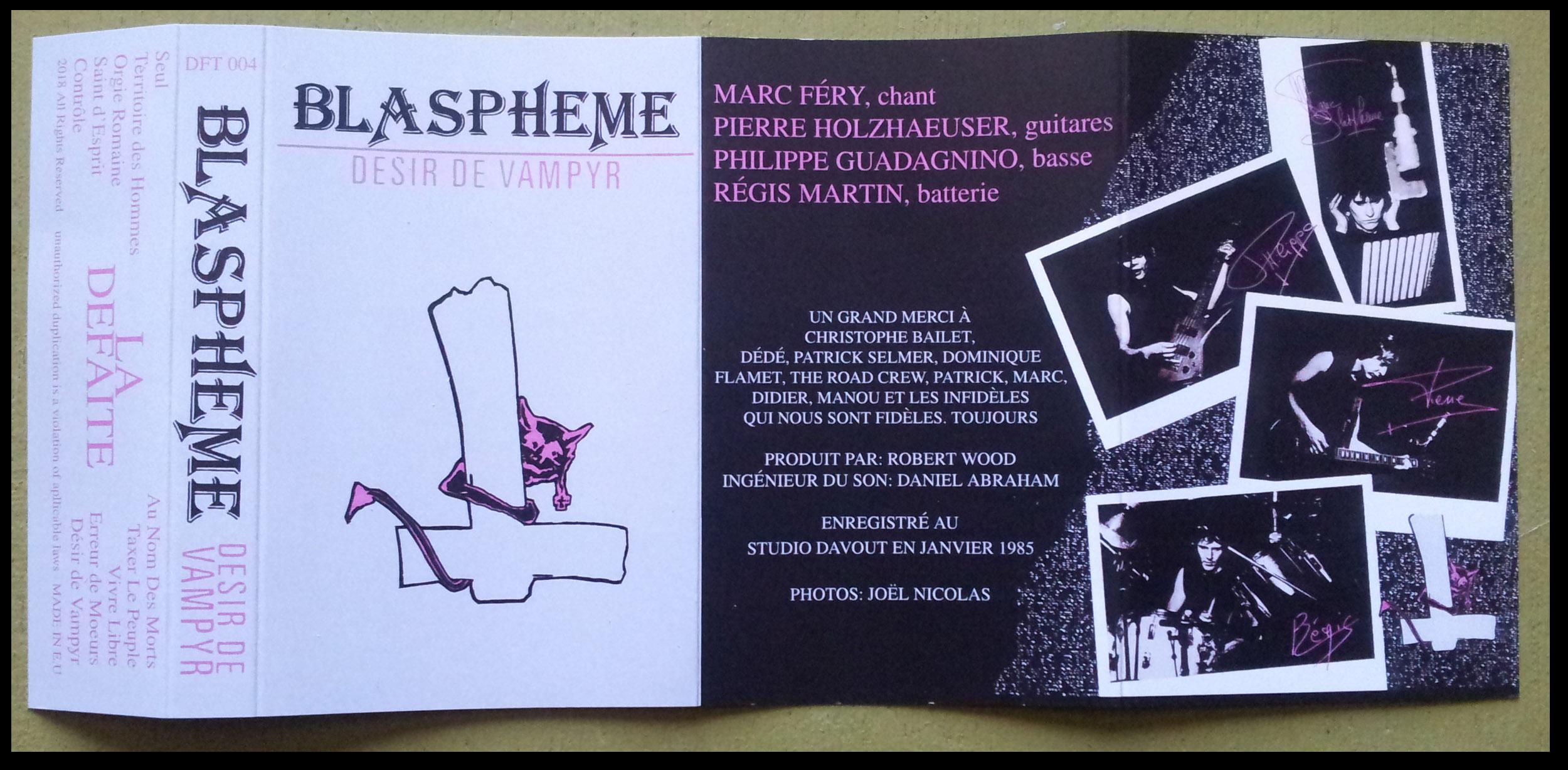 """reédition en cassette BLASPHEME """"désir de vampire"""" Christophe Bailet 240"""