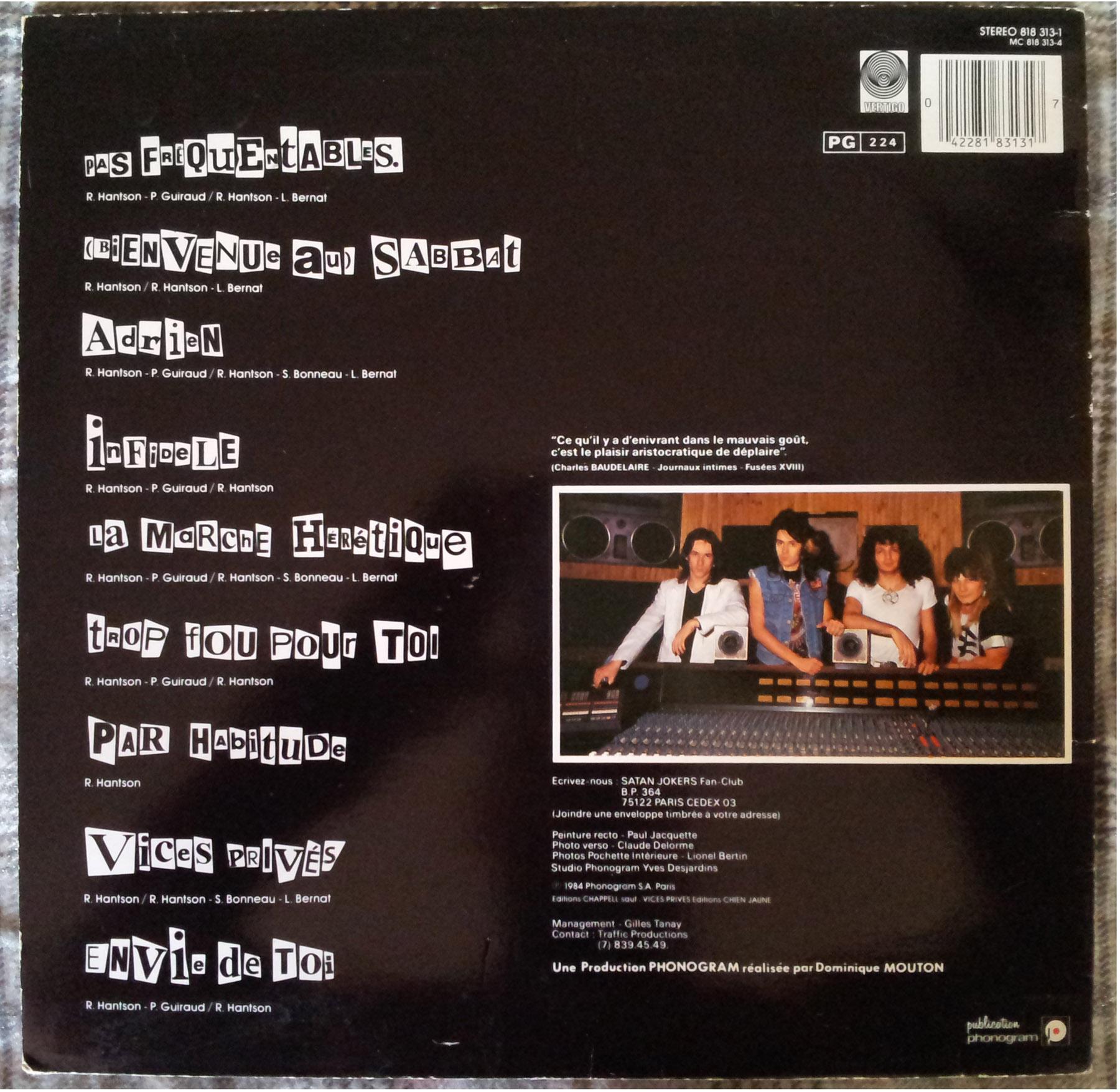 SATAN JOKERS Trop fou pour toi (1984) le vinyle vu de plus près ... 243