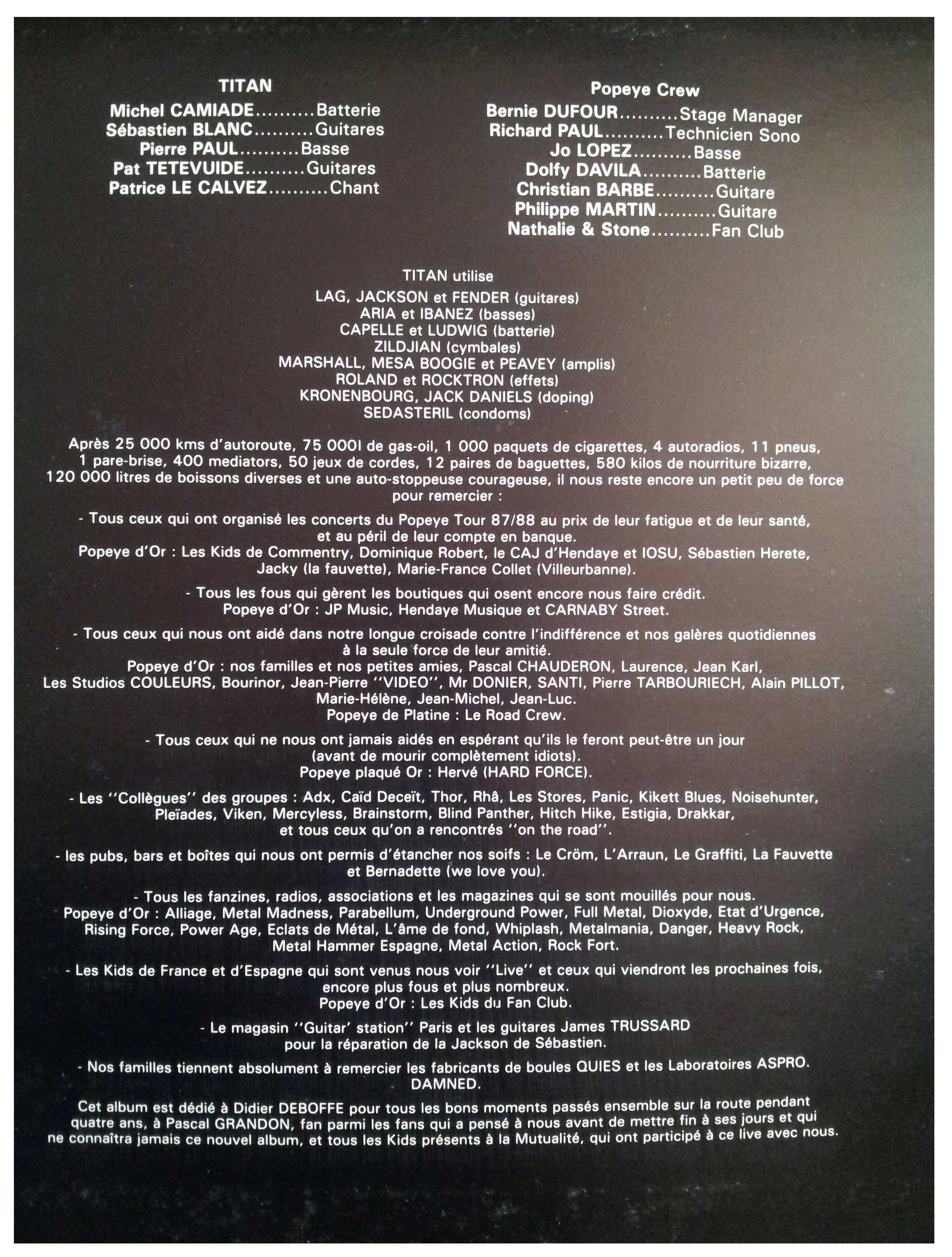 TITAN Popeye le Road (1988) le vinyle vu de plus près ... 329