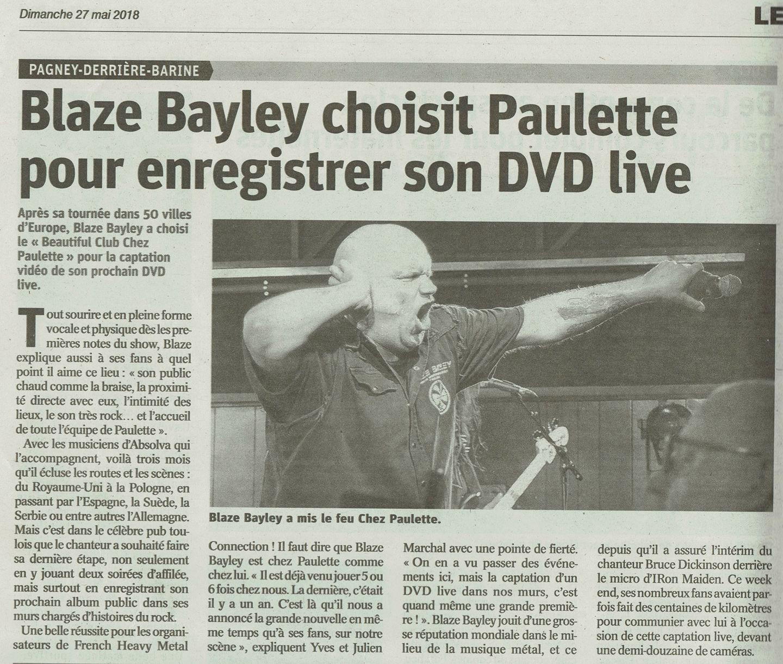 BLAZE BAYLEY dans le journal L'est Républicain (27 mai 2018) 33764310