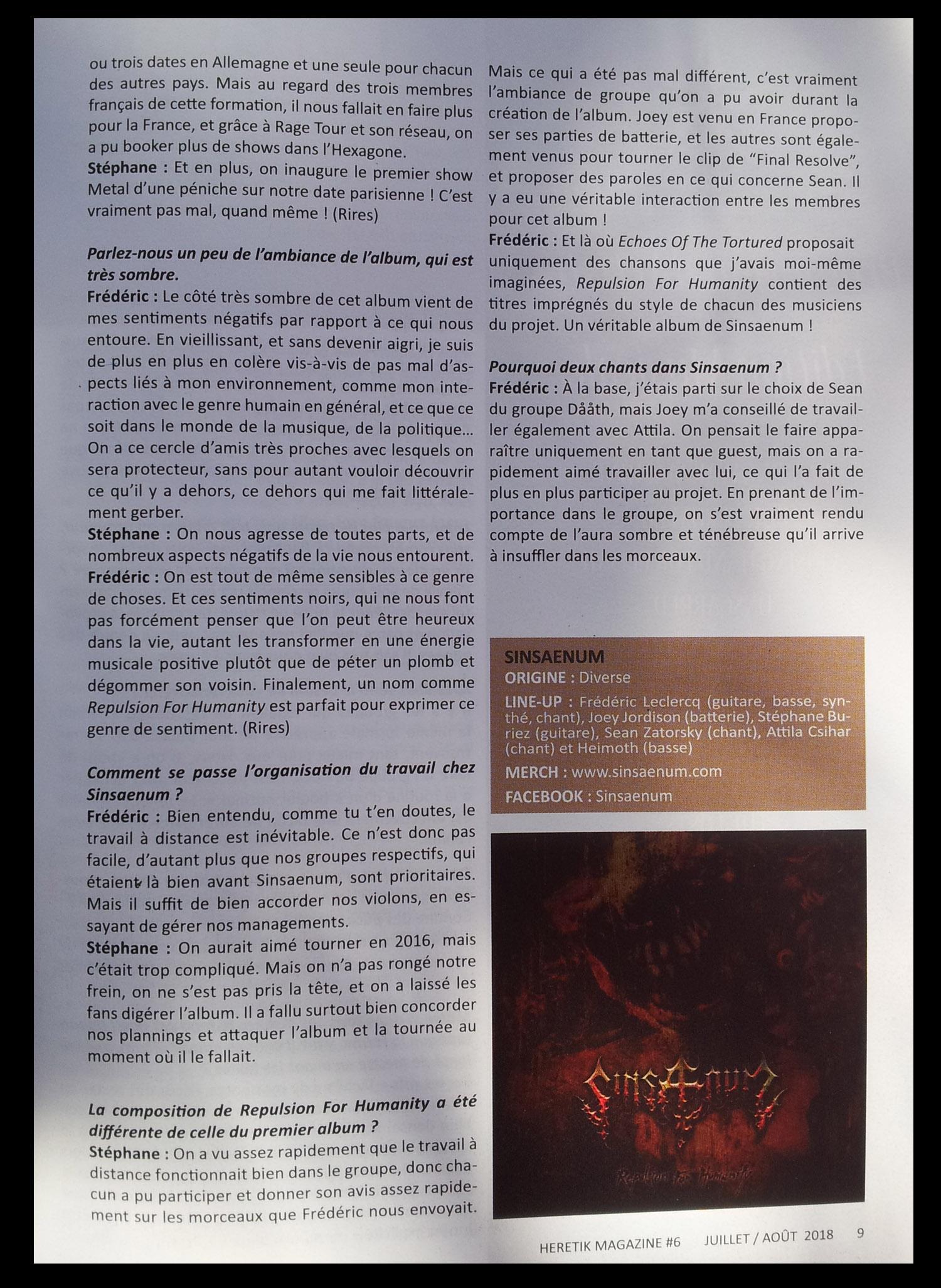"Interview SINSAENUM dans le ""gratuit"" HERETIK n°8 Juillet/Août 2018 B12"