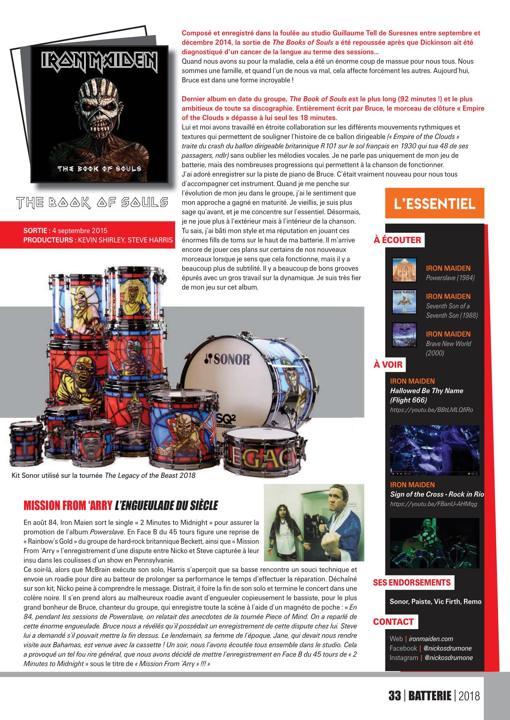 NICO McBrain interview sur Batterie Magazine Octobre/Novembre 2018 Batter19