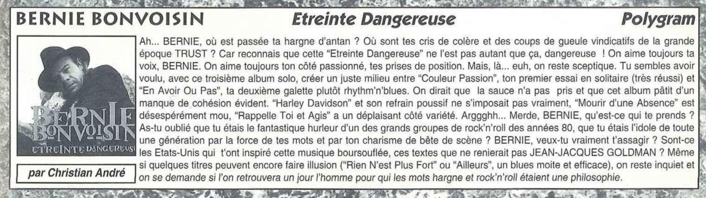 BERNIE Etreinte dangereuse (1993) Chronique dans ROCK STYLE N°1 Octobre 1993 (Archive à lire) Bernie10