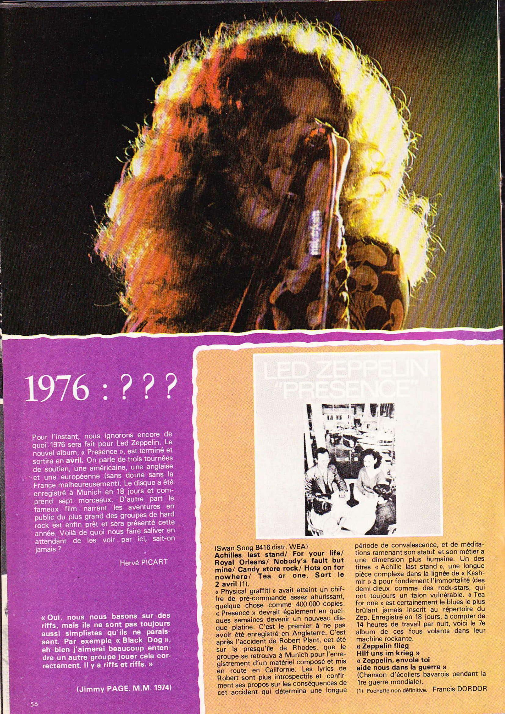 LED ZEPPELIN dans BEST N°93 Avril 1976 (Archive à lire) Best_923