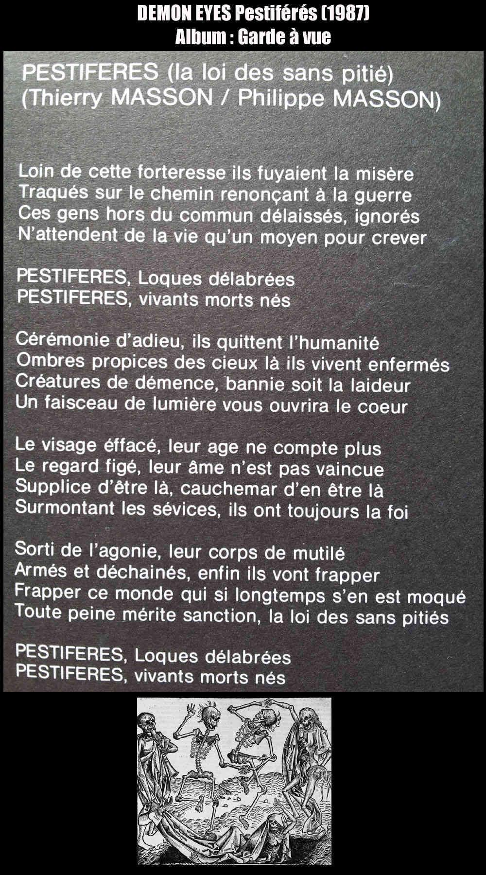 DEMON EYES Pestiférés (1987) Paroles Demon_10