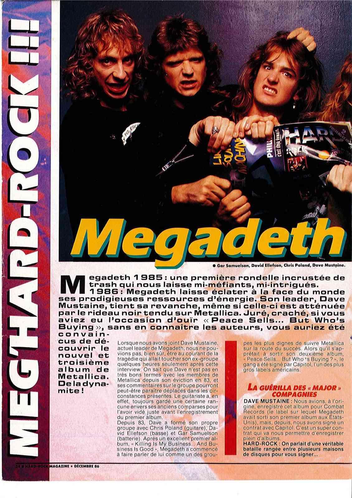 """Interview MEGADETH dans """"Hard Rock Magazine"""" Décembre 1986. Doc22010"""