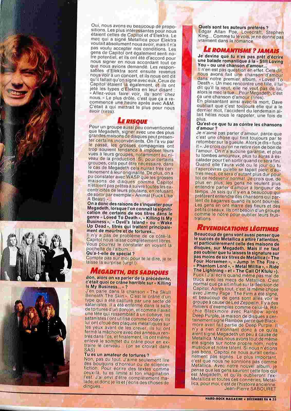 """Interview MEGADETH dans """"Hard Rock Magazine"""" Décembre 1986. Doc22011"""