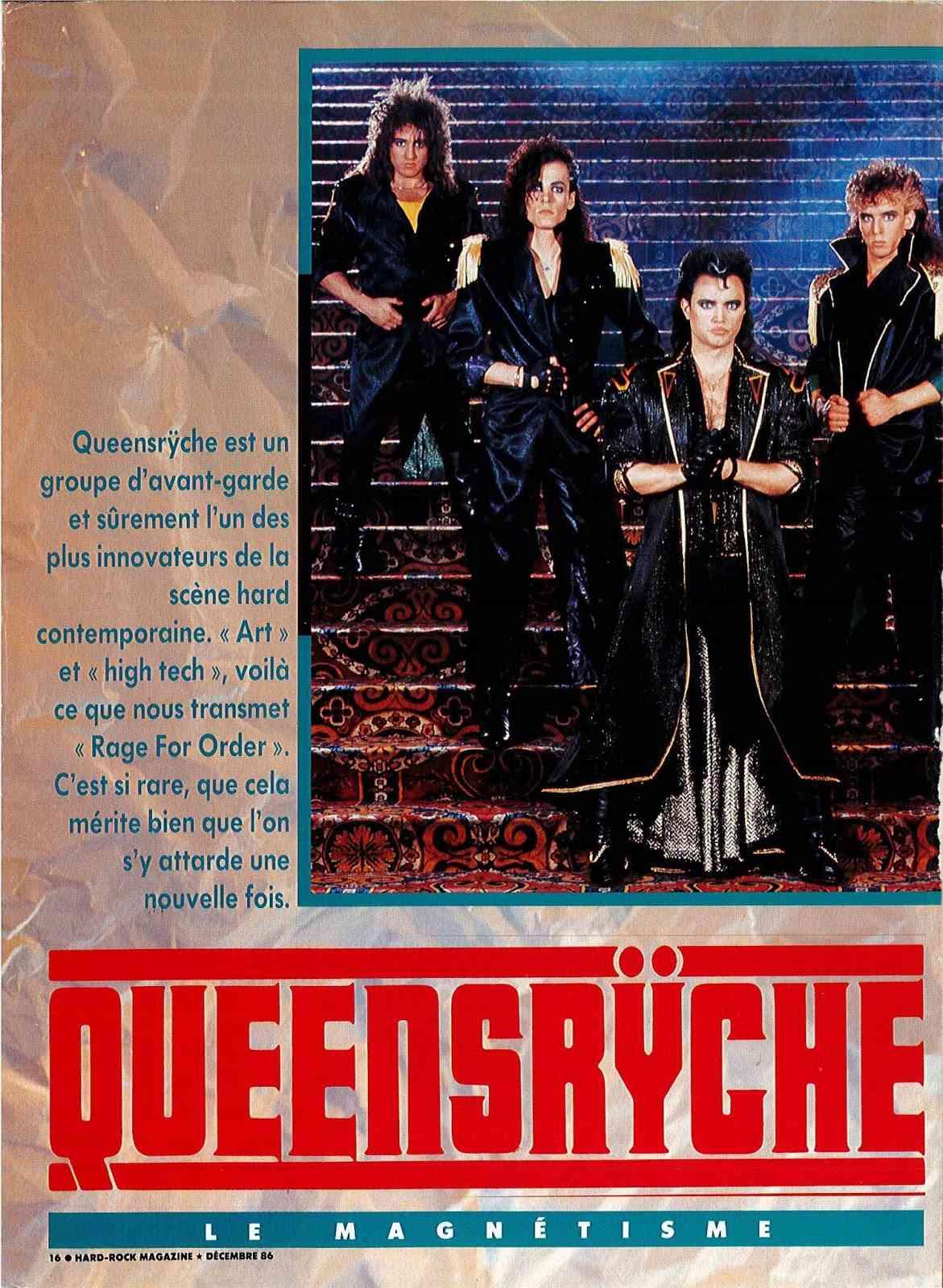 """Interview QUEENSRYCHE dans """"Hard Rock Magazine"""" Décembre 1986. Doc22012"""