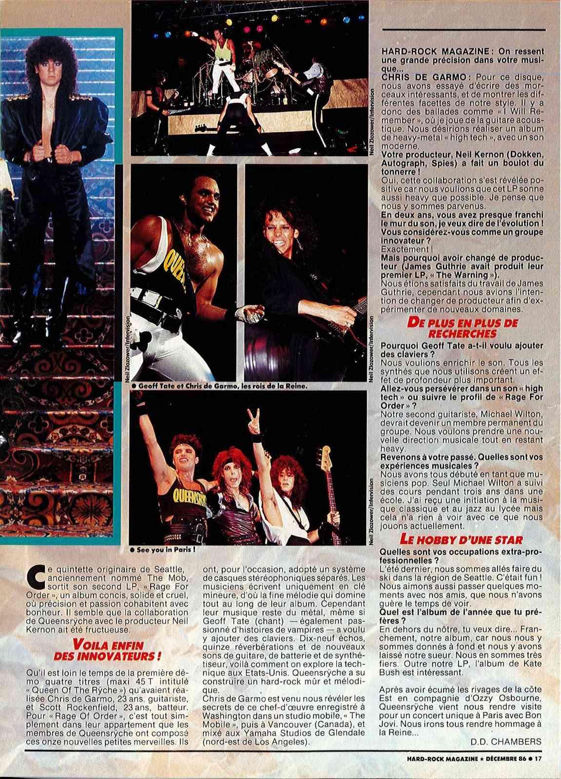 """Interview QUEENSRYCHE dans """"Hard Rock Magazine"""" Décembre 1986. Doc22013"""