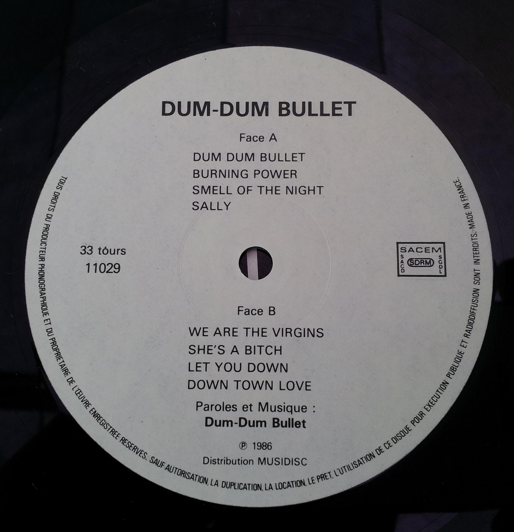 DUM DUM BULLET 1er album (1986) 33 tours - le vinyle vu de plus près ...   Dum_du13