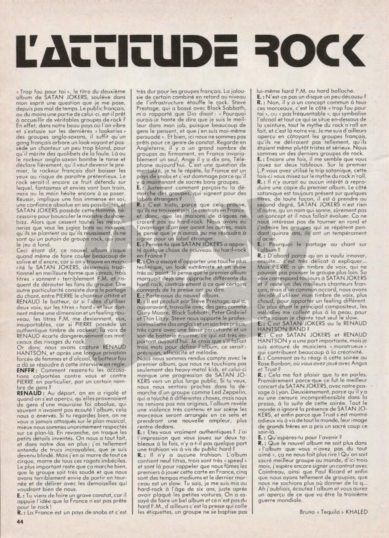 SATAN JOKERS : attitude Rock (Interview ENFER MAG n°10 Février 1984) Archive Enfer_10
