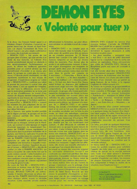 DEMON EYES : Volonté pour tuer. ENFER Mag n°5 Septembre 1983 (Archive à lire) Enfer_15