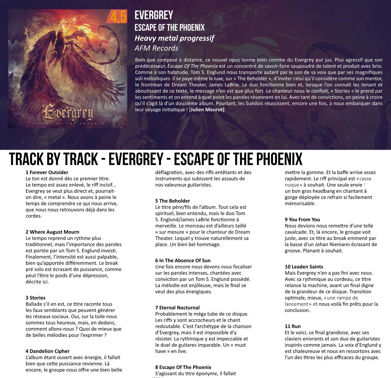 """Evergrey  (Progressive Metal) """"Escape Of The Phoenix"""" le 26 février 2021 et le single le 4 decembre 2020 Evergr11"""