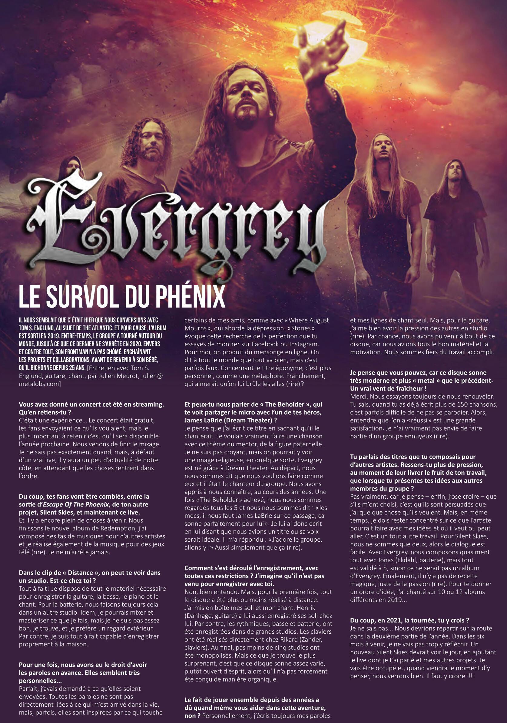 """Evergrey  (Progressive Metal) """"Escape Of The Phoenix"""" le 26 février 2021 et le single le 4 decembre 2020 Evergr12"""