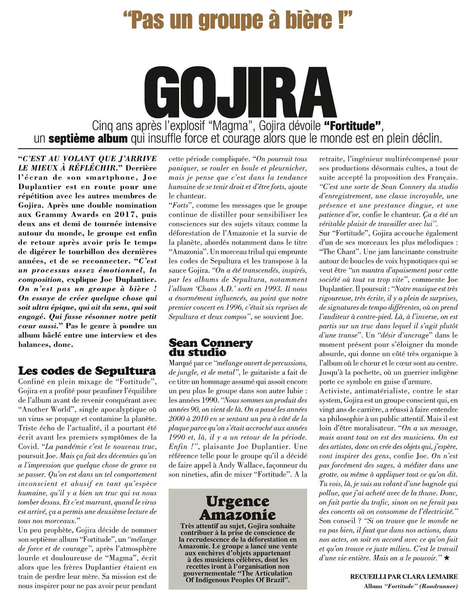 "GOJIRA ""fortitude"" avril 2021 Go210"