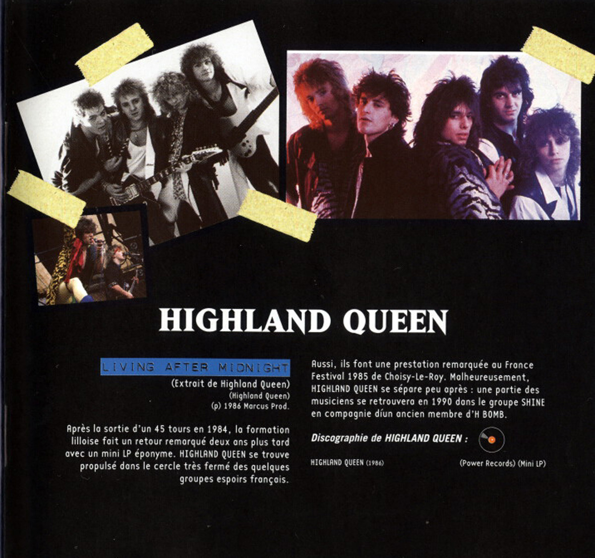 HIGHLAND QUEEN dans le fanzine TYMPANS (Mars/Avril 1985) High_l10