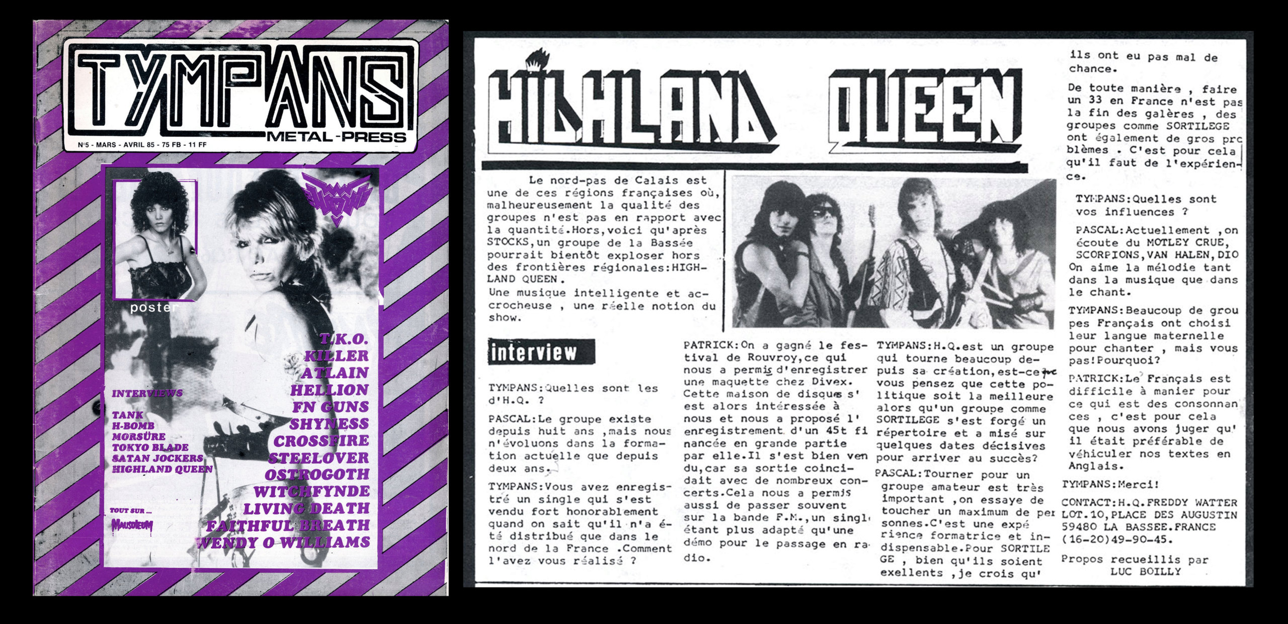 HIGHLAND QUEEN dans le fanzine TYMPANS (Mars/Avril 1985) Highla10