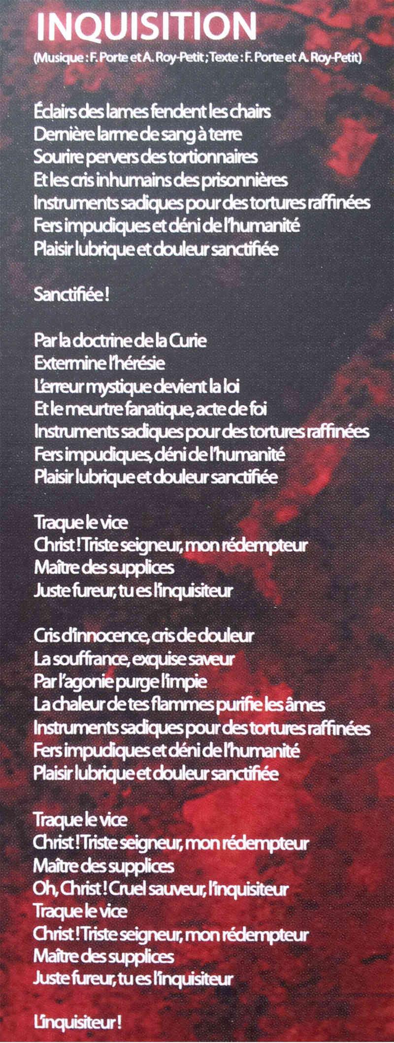 HURLEMENT Inquisiteur (2013) Paroles Inquis10