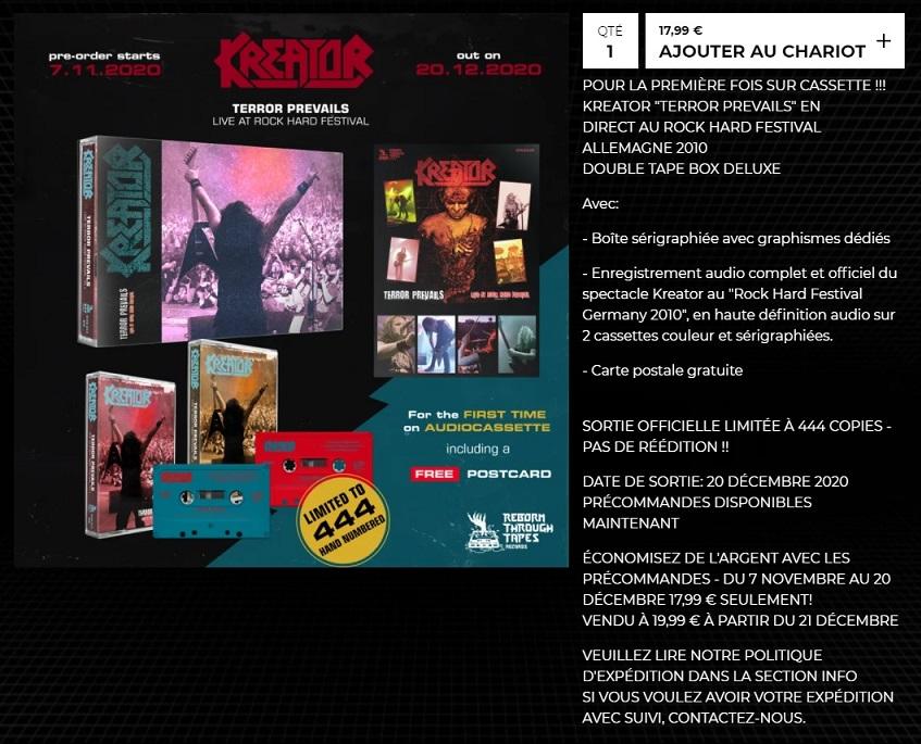 """KREATOR sort """"Terror Prevails"""" en cassette audio limitée à 444 exemplaires !  Kreato21"""