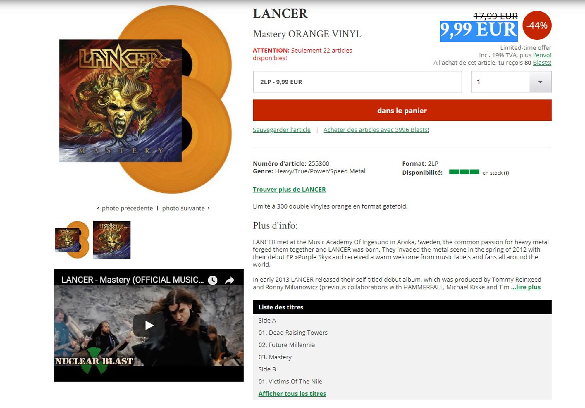 LANCER Mastery Vinyle orange 2 lp chez Nuclear Blast pour 9,99 EUR ... Lancer10
