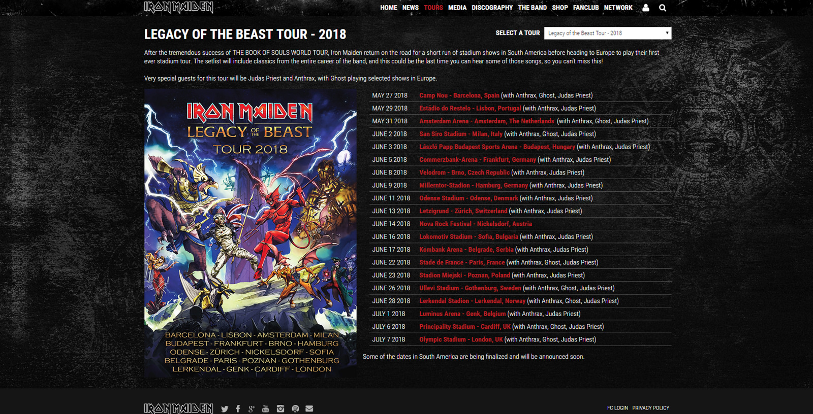 "IRON MAIDEN fait les choses en grand pour sa tournée mondiale ""Legacy Of The Beast"" Lotbto10"