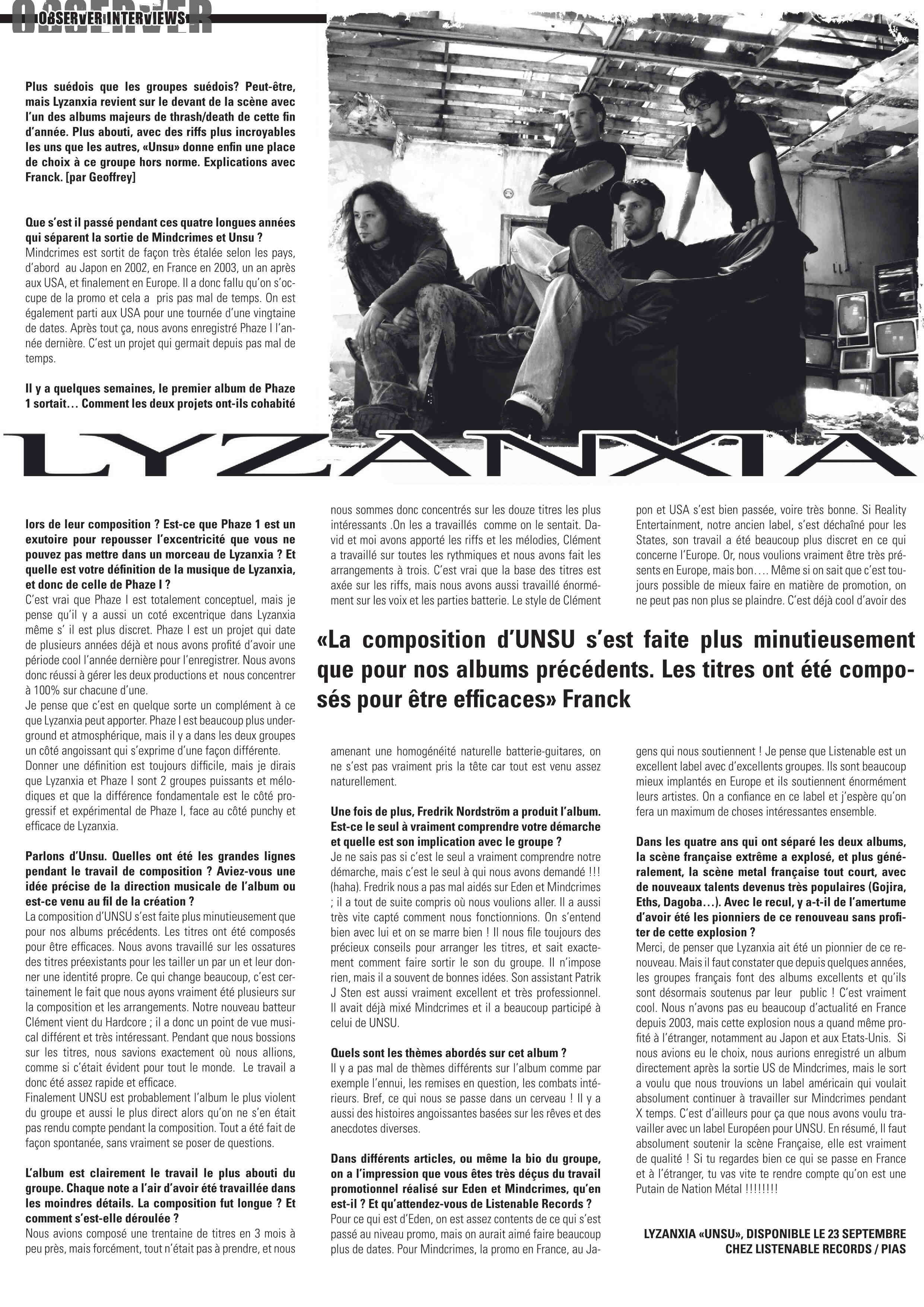 "LYZANXIA parle de leur album ""Unsu"" - Archive à lire - Metal Observer N°9 Lyzanx13"