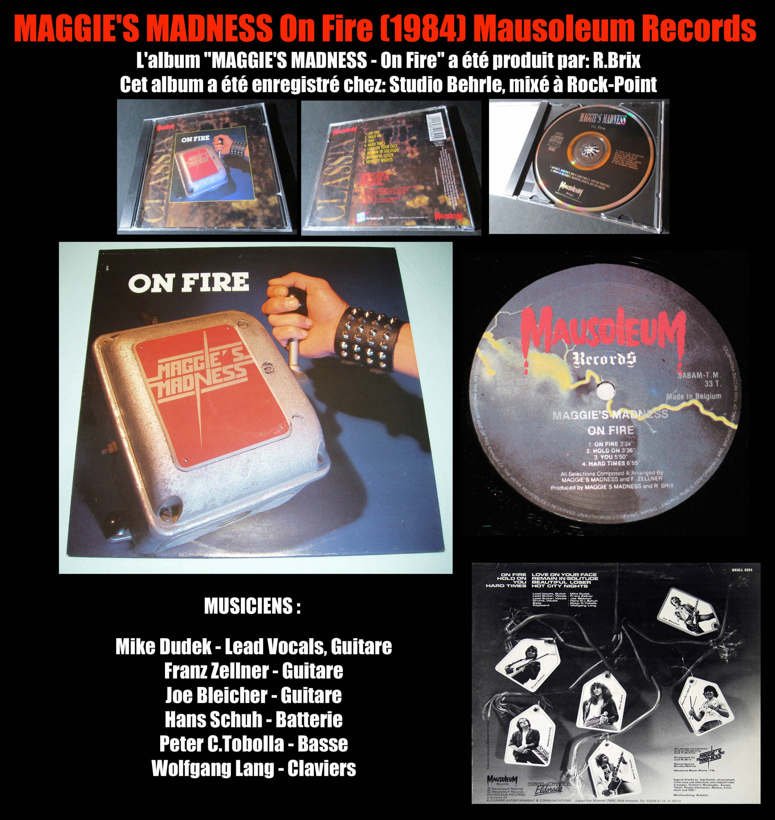 MAGGIE'S MADNESS On Fire (1984) Heavy Metal Belgique Maggie10