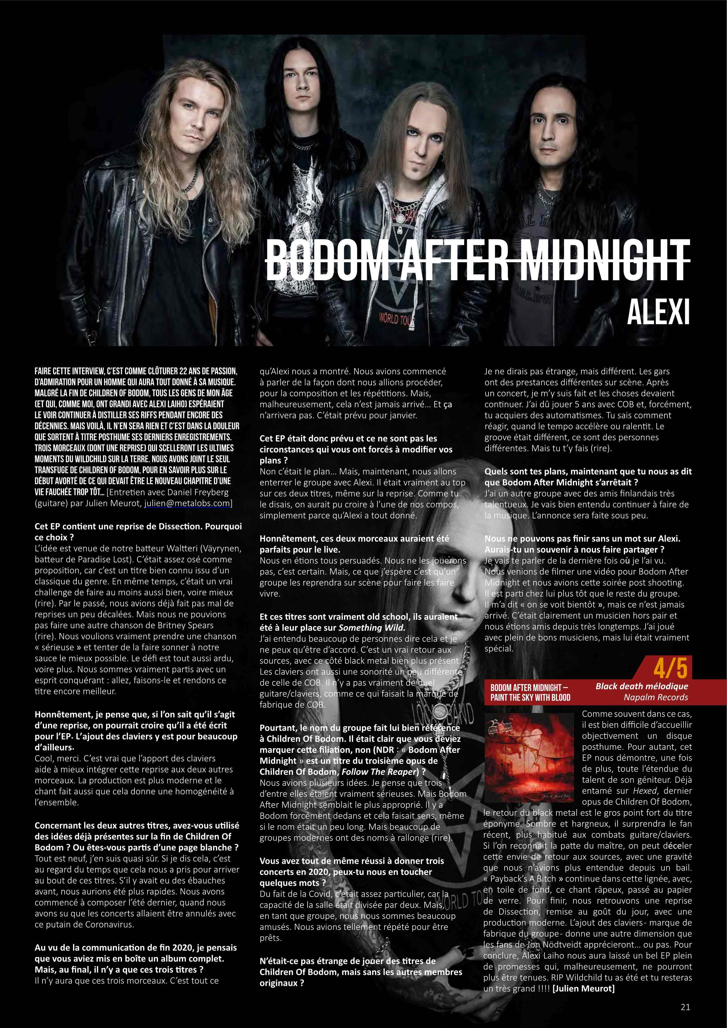 BODOM AFTER MIDNIGHT (ex-CHILDREN OF BODOM)Paint The Sky With Blood, le 23 avril 2021 Metal-21