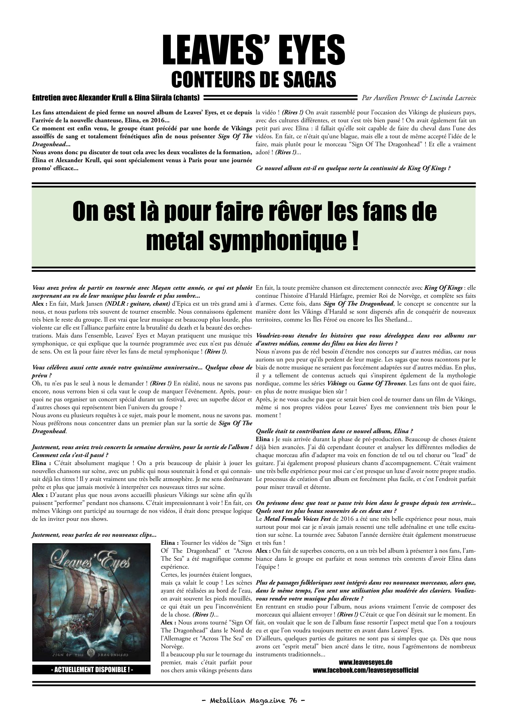 Interview LEAVE'S EYES Conteurs de sagas (Metallian) Archive à lire. Metall16