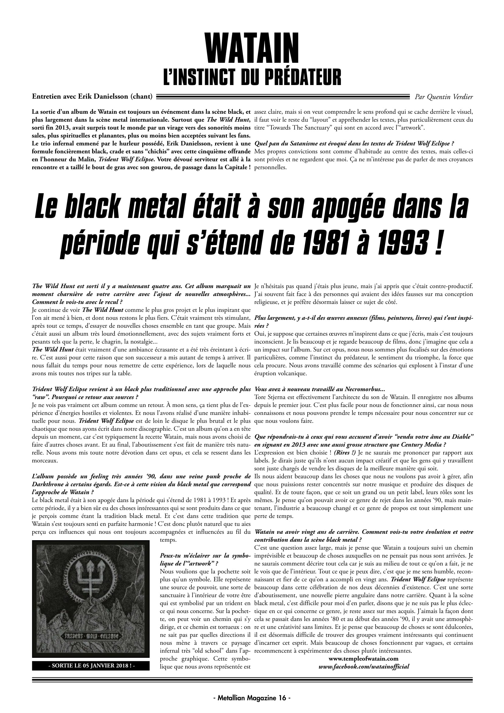 WATAIN L'instinct du prédateur (Interview METALLIAN Nov/Dec 2017) Archive à lire Metall20