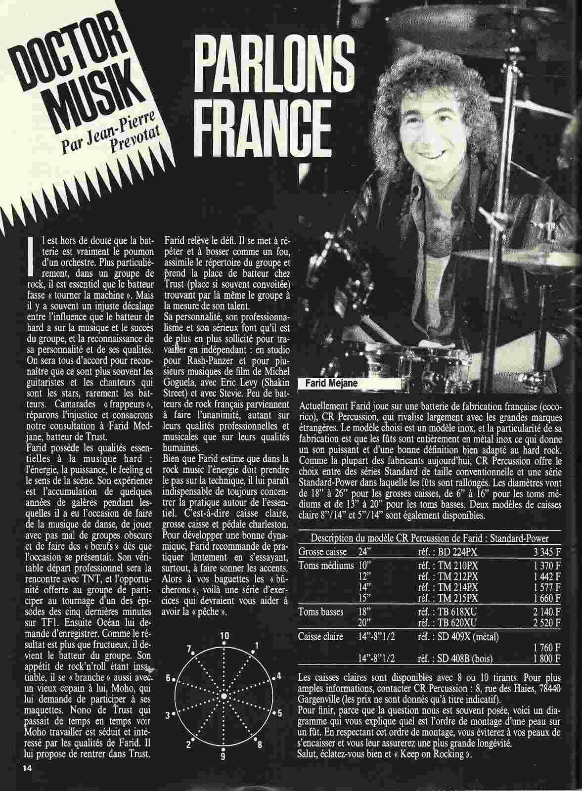 "Doctor Musik...parlons France avec Farid Mejane (Trust) ""Metal Attack"" Mai 1985 ARCHIVE Numyri16"